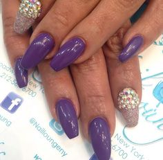 Purple Nails With Sparkles and Swarovski Crystals