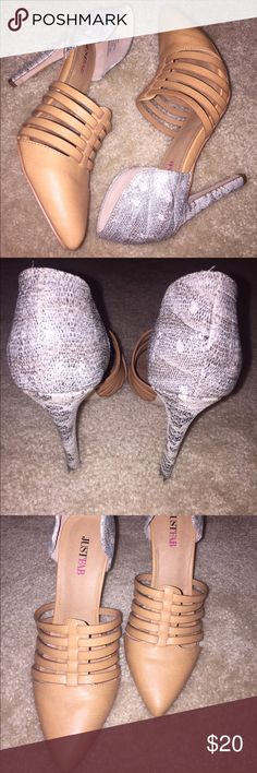 """🎊NWOT🎊 Justfab; Margeaux Dressy Heels Size: 6 Color: Nude / Grey Approx. Heel Height: 4"""" Condition: Worn once Synthetic Upper Man Made Sole Fashion Stiletto Heels Sophisticated  Margeaux is a mixed material pump with strapped detail on the vamp.  Faux leather and textured faux snake JustFab Shoes Heels"""