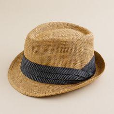 Straw chambray trilby hat. $40.