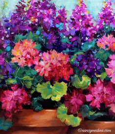 The weekend is about to bloom, the new studio is full of flowers, and the pugs helpers are fed and content. Life is beautiful in Flower Mound, Texas! Good morning flower friends, time to splash some color around. Sweet Dreams Geraniums, detail, 20X16, oil www.nancymedina.com