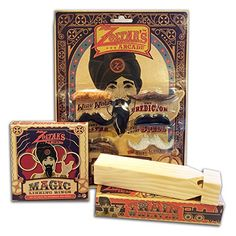 I love this kids' set.  Reminds me of The Zoltar speaks machine in BIG!   Such a cool gift set. #zoltar #houdini #whistle #vintage #wooden  Retro Kid Fun Bundle - Magicians Mustache Set / Classic Wood Train Whistle & Classic Magic Linking Rings Zoltar's Arcade