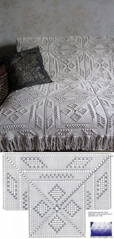 Discover thousands of images about Gorgeous crochet pattern for this floral blanket. Pattern is for baby sized blanket, but this could be made in any size. Crochet Afghans, Crochet Bedspread Pattern, Crochet Motifs, Crochet Blocks, Crochet Diagram, Crochet Squares, Crochet Blanket Patterns, Filet Crochet, Crochet Stitches