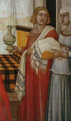 Pietro Lorenzetti (1280-1348). Detail, Birth of the Virgin [Natività della Vergine] (1342). Siena, Museum of the Opera del Duomo [Museo dell'Opera del Duomo]. Perugia towels; plaid bed linens.