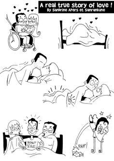 """Illustration de Sanrankune, scénario de Sandrine Apers  tirée du livre """"Handicap, Freaks et Compagnie"""""""