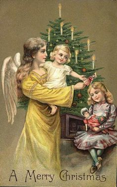 Christmas Angel wth Children Reproduction by naturepoet on Etsy Victorian Angels, Victorian Christmas, Vintage Christmas, Christmas Angels, Christmas Art, Christmas Greetings, German Christmas, Christmas Traditions, Holiday Postcards
