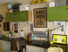 really like a lot of these ideas: covering cabinets with boards, long counterspace, stacking things on cabinets, etc