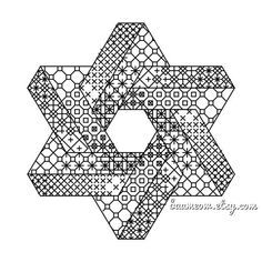 I wanted to create a pattern which would show off the beauty of blackwork in a simple contemporary design. And of course Ive always been a fan of MC Escher and his impossible objects. This pattern is an extension of my Impossible Triangle pattern. It increases the complexity and is suitable Motifs Blackwork, Blackwork Cross Stitch, Blackwork Embroidery, Folk Embroidery, Cross Stitching, Cross Stitch Embroidery, Embroidery Patterns, Cross Stitch Patterns, Mandala