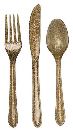 Reusable Gold Glitter Plastic Cutlery Set - 24 Pieces | eBay