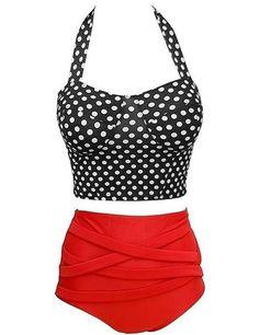 Vintage High Waist Dot Print Bikini Set