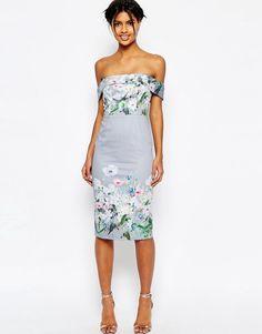 Image 1 of ASOS Gray Border Floral Midi Pencil Dress