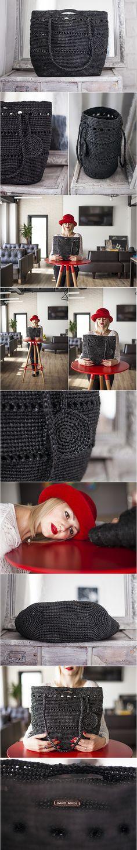 Plarn Tote Bag, Ecofriendly Upcycled, Plastic Yarn Tote Bag, Black, OOAK Bag, Handbag Plarn Tote Bag, Crochet Tote,Recycle Plarn Tote, #frombabushkashop