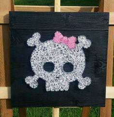"$30, 12x12"", String Art Pirate Skull with Pink Bow. Punk Nail by NailedItDesign"