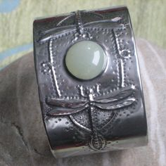 Silver Pewter Dragonfly Cuff Bracelet with Jade