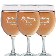 Bridesmaid Gift, Engraved Wine Glasses, Wedding Favors, Etched Glasses