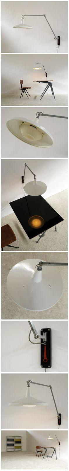 Wim Rietveld White Panama industrial swing lamp