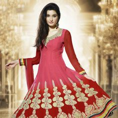 Peach and #Red Faux Georgette Semistitched #Anarkali Churidar Kameez