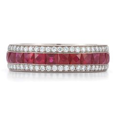 Square ruby and diamond band from the Kwiat Vintage Collection in white gold Square Diamond Rings, Beautiful Diamond Rings, Ruby Diamond Rings, Vintage Diamond Rings, Diamond Ring Settings, Art Deco Diamond, Diamond Bands, Diamond Jewelry, Ruby Rings
