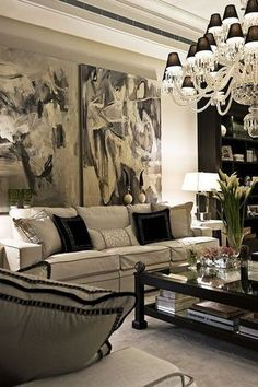 Traditional Living Room with Crown molding, Built-in bookshelf, Chandelier, Restoration Hardware Lina Rug Latte, Carpet