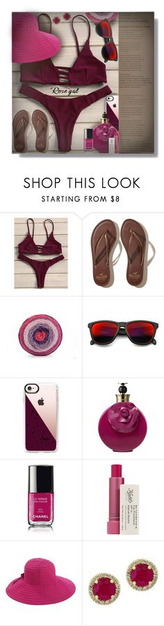 """""""Strappy Tanga Bikini Set - Contest!"""" by sarahguo ❤ liked on Polyvore featuring Hollister Co., ZeroUV, Casetify, Valentino, Kiehl's, San Diego Hat Co. and Effy Jewelry"""