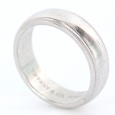 Tiffany Co Mens Platinum Milgrain Wedding Band Ring 6mm Size 75