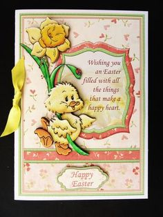 HAPPY EASTER CHICK DAFFODIL Topper Decoupage on Craftsuprint designed by Janet Briggs - made by Valerie Spowart - I printed out sheet onto matt photopaper, cut out and attached base to white card, added decoupage with foam pads and finished with a yellow satin bow, A lovely Easter design. - Now available for download!
