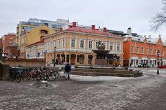 Lion Fountain, Vähätori, Turku. Vähätori Gustav Albert Petreliuksen lahjoittama Leijona-suihkulähde Turun vanhan pääkirjaston edustalla.