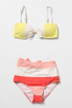 Retro color block bikini