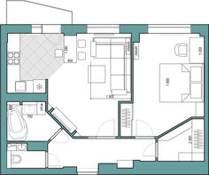 перепланировка двушки One Bedroom House Plans, Guest House Plans, 1 Bedroom House, House Floor Plans, Small Floor Plans, Small House Plans, Santorini House, Apartment Plans, Sims House