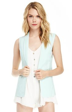Oversized Sleeveless Blazer in Mint XS - L | DAILYLOOK