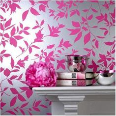 Midsummer Pink Floral Wallpaper - eclectic - wallpaper - by Graham & Brown Pink And Silver Wallpaper, Modern Floral Wallpaper, Eclectic Wallpaper, Metallic Wallpaper, Pink Wallpaper, Beautiful Wallpaper, Wallpaper Ideas, Floral Wallpapers, Vintage Wallpapers