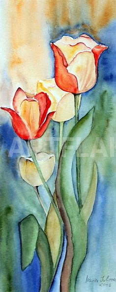 """""""Tulpenfrühling"""" Painting art prints and posters by Maria Inhoven - ARTFLAKES.COM"""