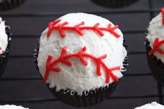 Life Is Sweets: Let's Play Ball For Father's Day! - Red Velvet Baseball Cupcakes