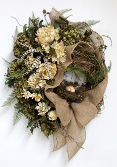 Country Front Door Wreath, Everyday Wreath, Elegant Flowers, Natural Honeysuckle, Summer Wreath, Fall Wreath, Country Decor -- FREE SHIPPING