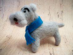 Felted Wool Dog Handmade Dog Schnauzer Dog by FeltWithAHeart