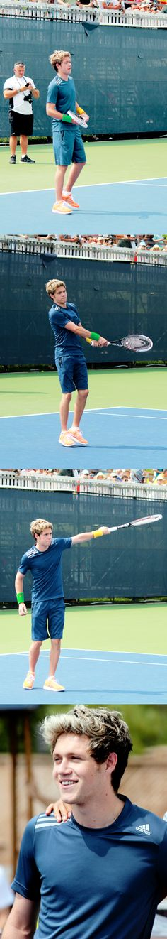 Bend your knees, Niall. The power shouldn't come from your arms, but from your quads and your hips. Bend your knees. #tenniscoachellen -E