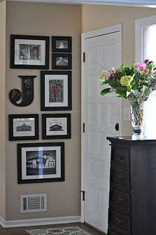 frame idea for a small wall, I have that letter in an E from Hobby Lobby! Just add some frames full of pictures of the house being built and I have a small wall covered! Diy Casa, Home And Deco, My New Room, Home Projects, Small Spaces, Diy Home Decor, Home Improvement, Sweet Home, New Homes