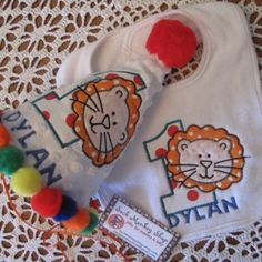 Carnival Lion Personalized  Appliqued First Birthday Hat, and Bib S...... | sockmonkeyshop - Children's on ArtFire