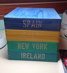 """Boxes from JoAnn's. Used Cameo to make the stencils. And used watered down acrylics to paint it. Now I keep all my """"relics"""" and mementos from our travels in these. Have to do about 5 more :-)"""