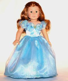 """New Cinderella movie dress for American Girl and 18"""" Dolls."""