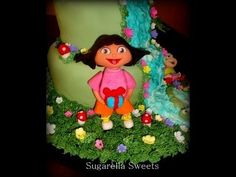 Fondant cake decorating - How to make Dora the explorer - YouTube