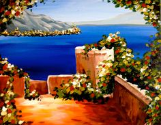 Acrylic Canvas - Greek Terrace - Source: Painting With a Twist