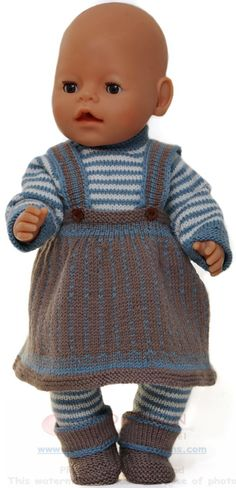 """dolls clothes knitting pattern - Every day's clothes"""" for my doll Knitting Dolls Clothes, Knitted Dolls, Doll Clothes Patterns, Doll Patterns, Clothing Patterns, Costume Marin, Baby Born Clothes, American Doll Clothes, Baby Knitting Patterns"""