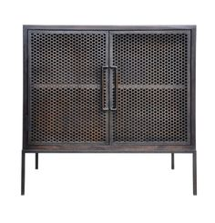 "Demian Bedside Table - Hardwood w/Pierced Metal Sliding Doors, 30""W x 20""D x 30""H --  Oly Studio"