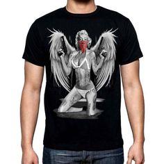 New Men's Marilyn Monroe Bandana Pistol & Wings T Shirt all size tattoo Motocross T Shirts, New Man, Marilyn Monroe, Bandana, Wings, Tattoo, Trending Outfits, Mens Tops, Products