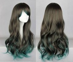 This synthetic wig is created with dark brown and dark green fibers.This is a long wig with soft curls that fall towards the bottom. The dark