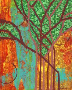 Abstract Botanical Branches Painting Artwork Original Seasons #1 by Kelly Pound
