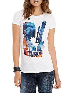 Fitted white tee from <i>Star Wars</i> with a galaxy filled Boba Fett silhouette design.<ul><li> 100% cotton</li><li>Wash cold; dry low</li><li>Imported</li><li>Listed in junior sizes</li></ul>