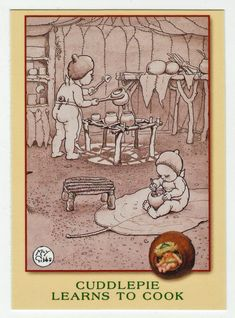 May Gibbs Cards # 39 - Cuddlepie Learns to Cook