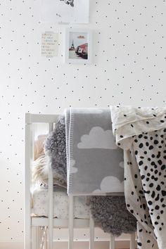 polka dot wallpaper. Grey, white and black nursery. Cloud blanket.