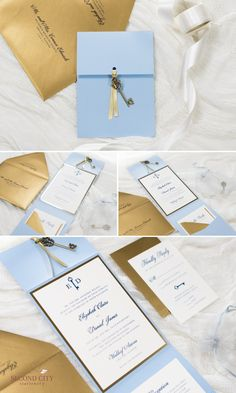 Pale / Serenity Blue, Antique Gold, Gold Foil, and Ivory Pocket Fold Wedding Invitation with Vintage / Antique Key Charm  |  by Second City Stationery